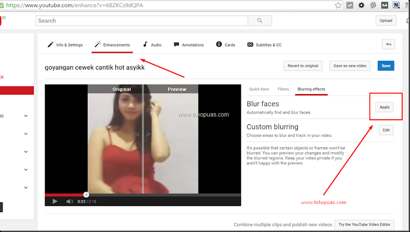 cara memburamkan wajah video youtube