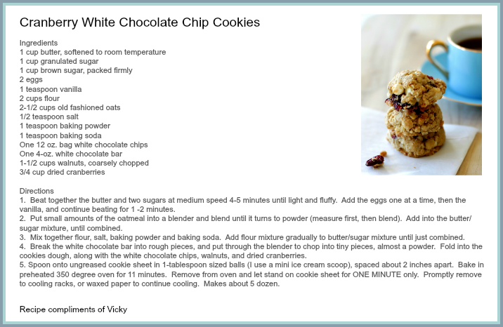 Recipe Card Cranberry White Chocolate Cookies