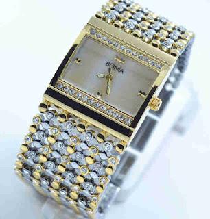 jam tangan Bonia biji lada silver kombi gold