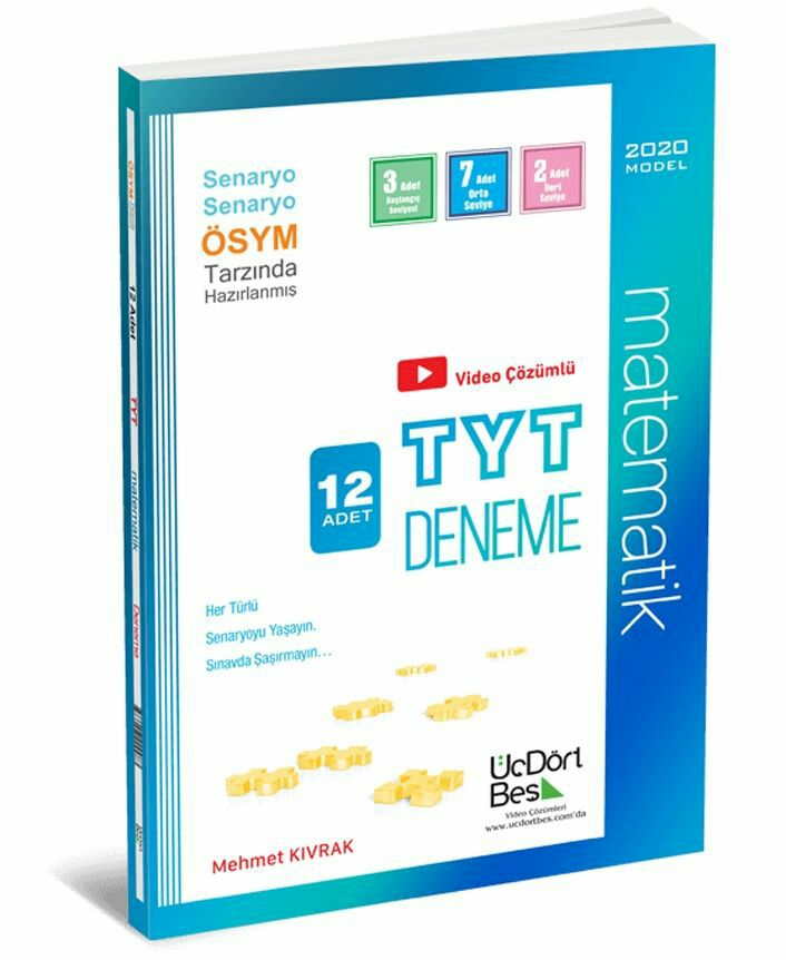 ÜçDörtBeş Yayınları TYT Matematik 12 Adet Deneme