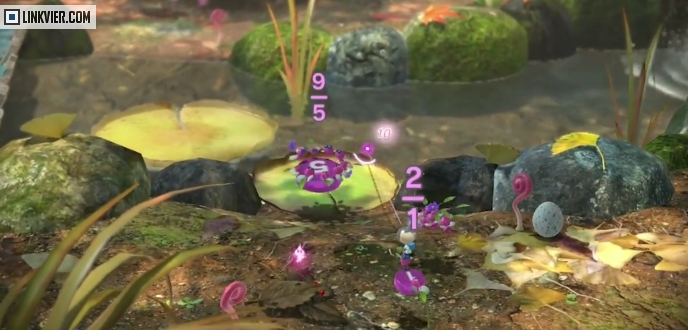 Winged Pikmin carrying stuff over water and land!