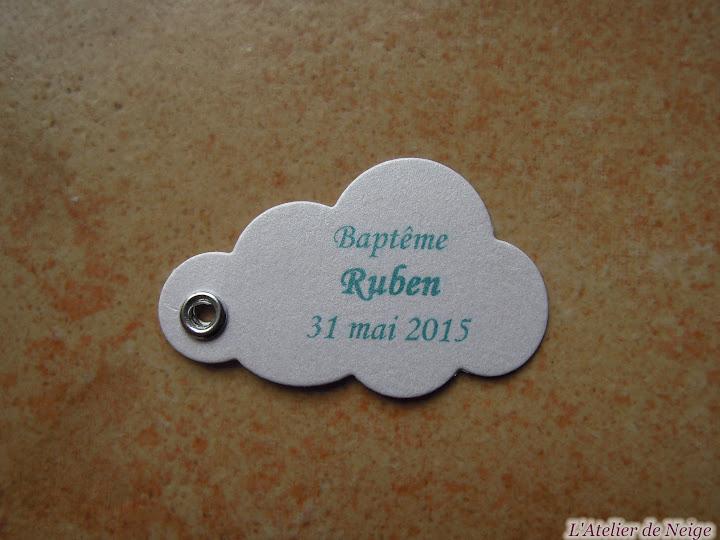 146 - Etiquettes à dragées Baptême  Ruben 31 mai 2015