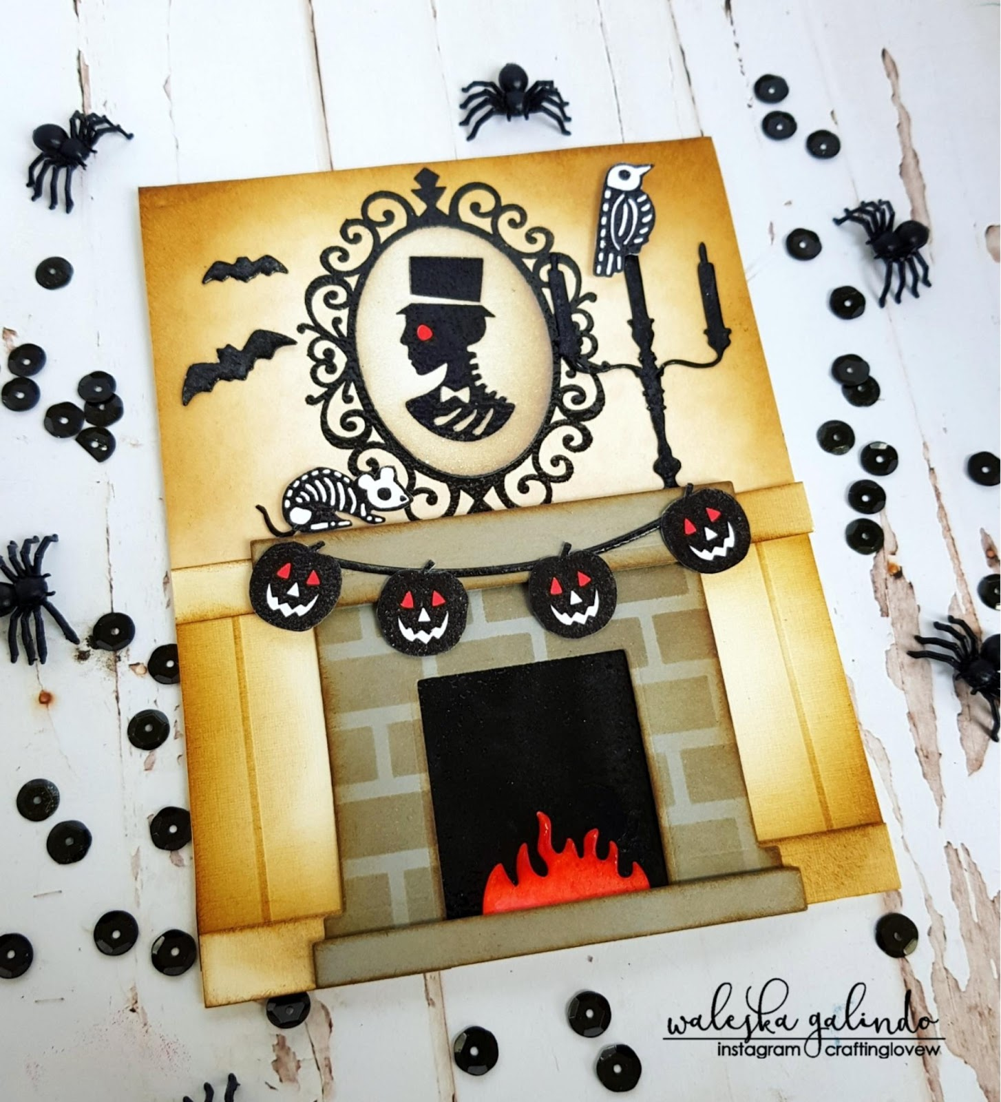 Spooky Card by October Guest Designer Waleska Galindo | Creepy Cameos and Spooky Skeletons Stamp Sets by Newton's Nook Designs #newtonsnook #handmade