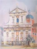 kościół Piotra i Pawła w Krakowie, kredka, karton, 26x30cm