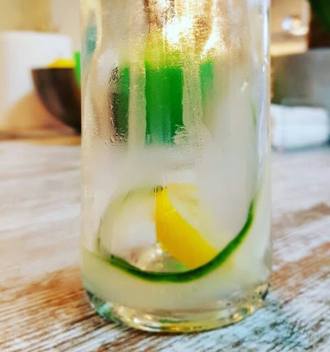 Infused water made with  slices of Cucumber and lemon