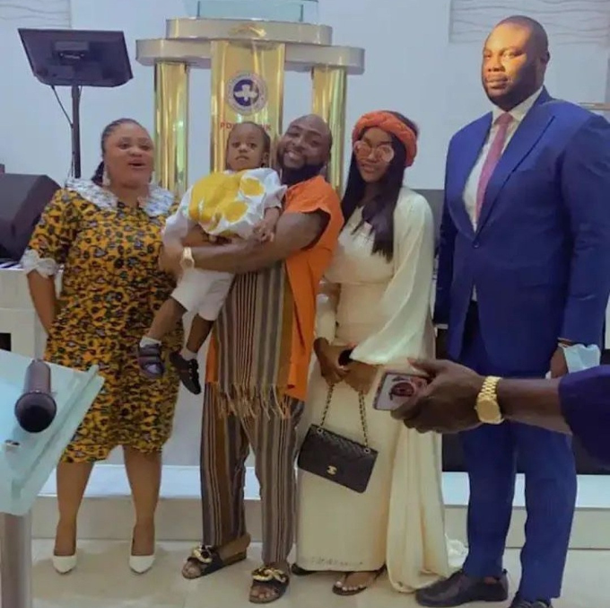 Davido and Chioma attend church together with their son (photos/video)