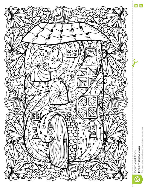 Adult Coloring Book Cover Design Mono Color Black Ink Illustration Vector  Art Fairy