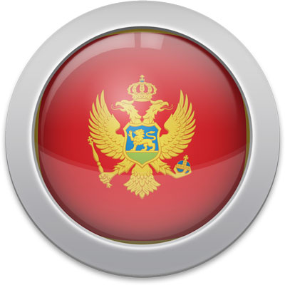 Montenegrin flag icon with a silver frame