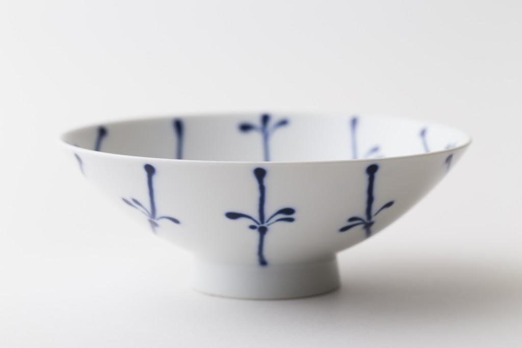 Hira-Chawan Flat Bowl (white x blue-line)