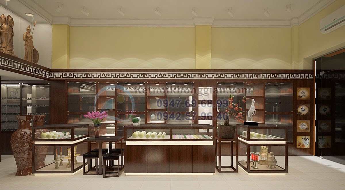 thiết kế cửa hàng vật phẩm phong thủy tôn nghiêm cổ kính