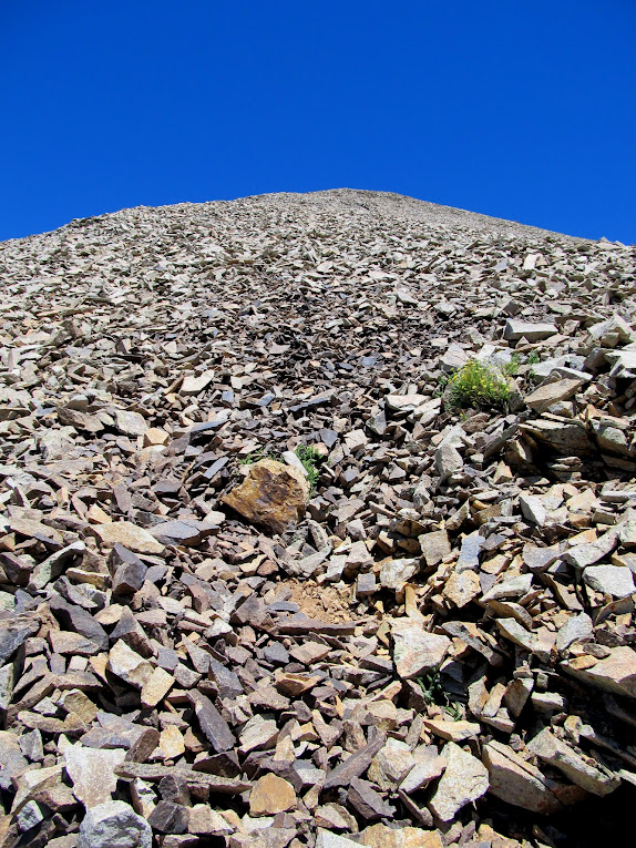 View up the steep, loose talus on the west side of Mt. Waas
