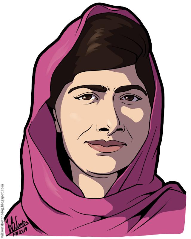 Cartoon caricature of Malala Yousafzai.
