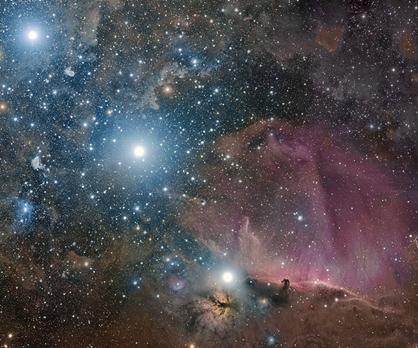 Cinturão de Órion e as Nebulosas da Chama e da Cabeça de Cavalo