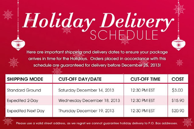 Avon Holiday Shipping Schedule