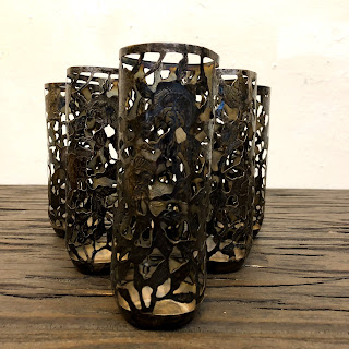 Sterling Silver Iced Tea Glass Overlay Set