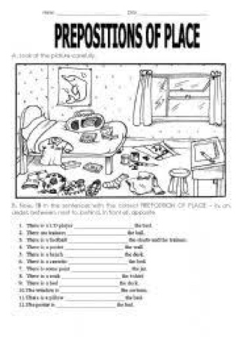 activities4u: Prepositions Exercises para imprimir y