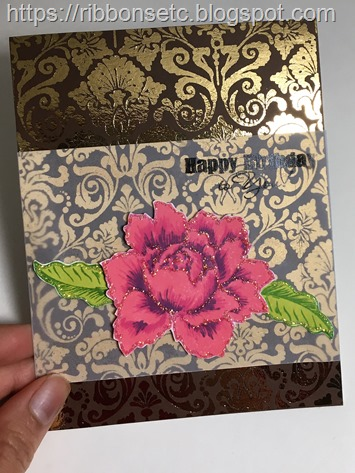 Birthday card with brown cardstock gold foiled and with floral stamped elements.
