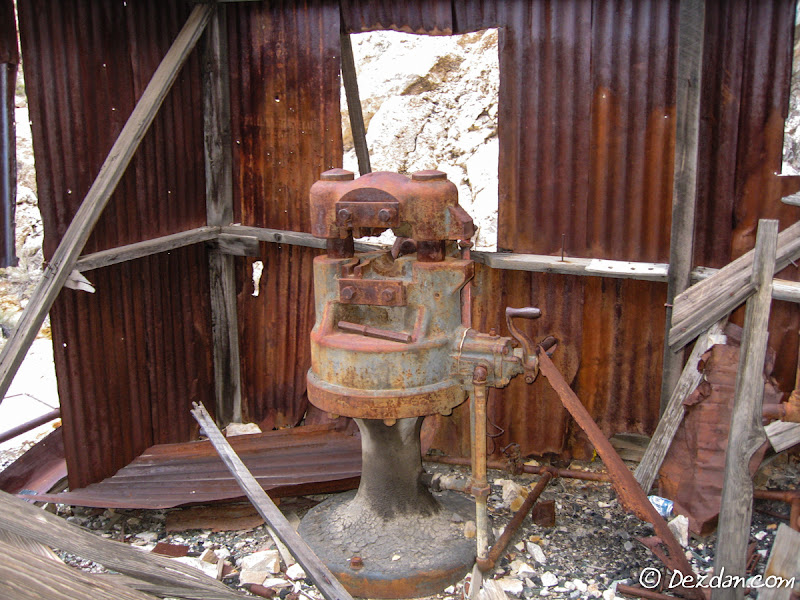 Back on the surface, we discover a blacksmiths shop adjacent to the headframe. Here is a bit sharpener.