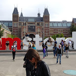 the I amsterdam sign in front of the Rijksmuseum in Amsterdam, Noord Holland, Netherlands