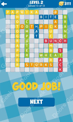 Cheats, Solutions for Level 2 in 13 Word Connect by Second Gear Games