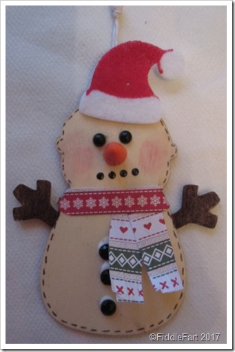 Wooden Snowman Tag - That went wrong. Snowmen don't have ears