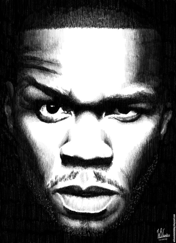 Pencil drawing of 50 Cent, using Krita 2.7 Alpha.