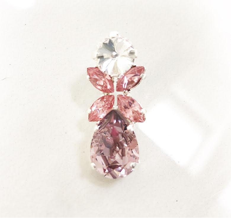 Örhängen med Swarowski® kristaller FLOWER Pinky
