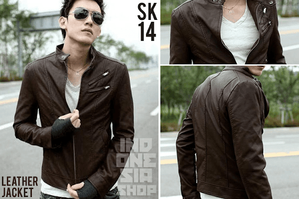 indonesia shop sk14 jaket kulit korean style cokelat