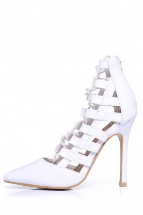 Zandra Lace up Heels in White, €45.00