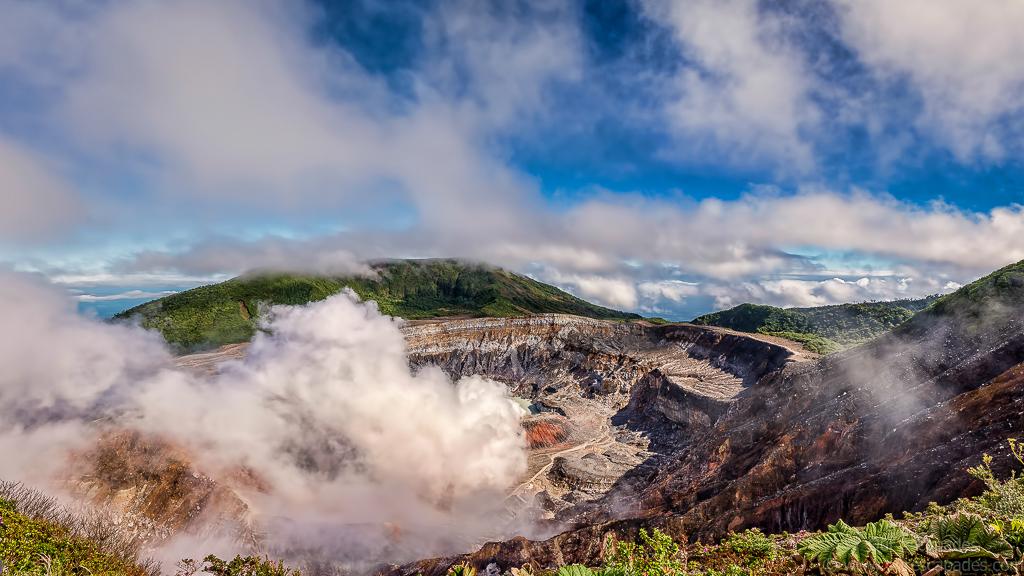 Poas Volcano with active fumarole