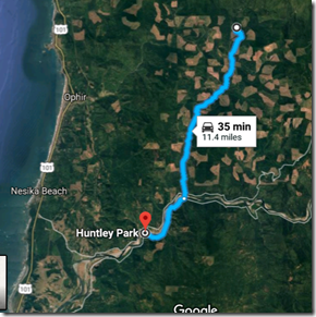 Lobster Creek Fire in relation to Huntley Park