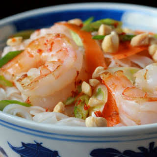Rice Noodle Salad With Shrimp And Scallions.