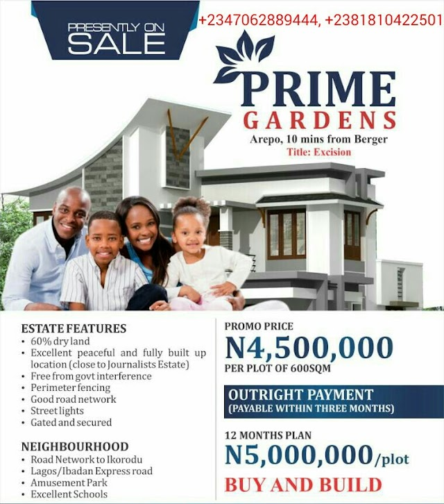 PRIME GARDENS, AREPO, OGUN STATE(LAND FOR SALE)