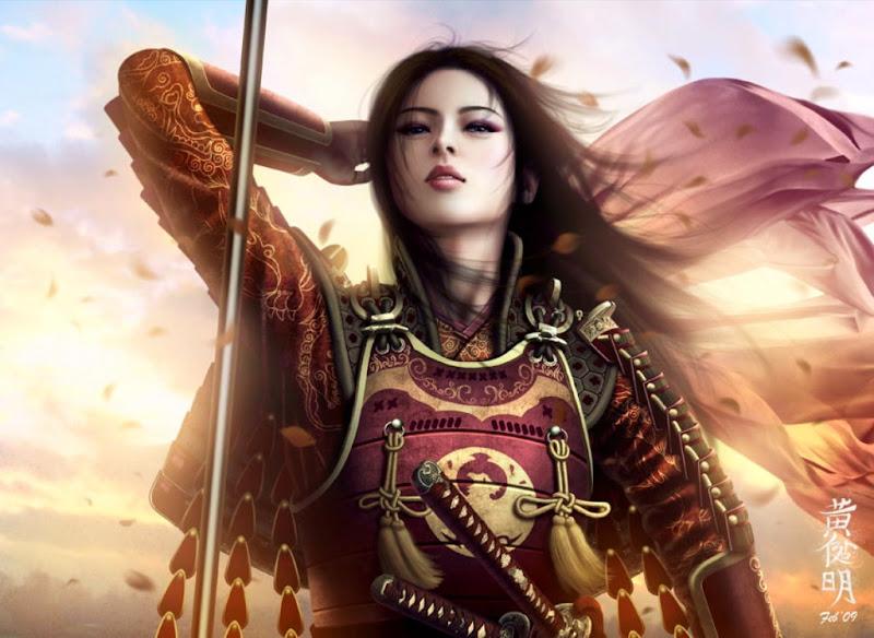 Sunset Fantasy Girl Samurai, Magic Samurai Beauties