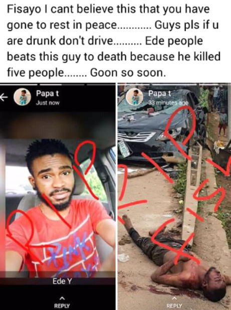 Drunk And Drive Student Linched To Death By Angry Mob For Killing 5 People (Graphic Photo)