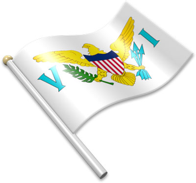 The Virgin Island flag on a flagpole clipart image