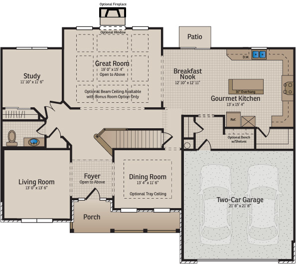 New home builder floor plans and home designs available for Gourmet kitchen floor plans