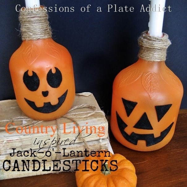 CONFESSIONS OF A PLATE ADDICT Country Living Inspired Jack-o-lantern Candlesticks 3