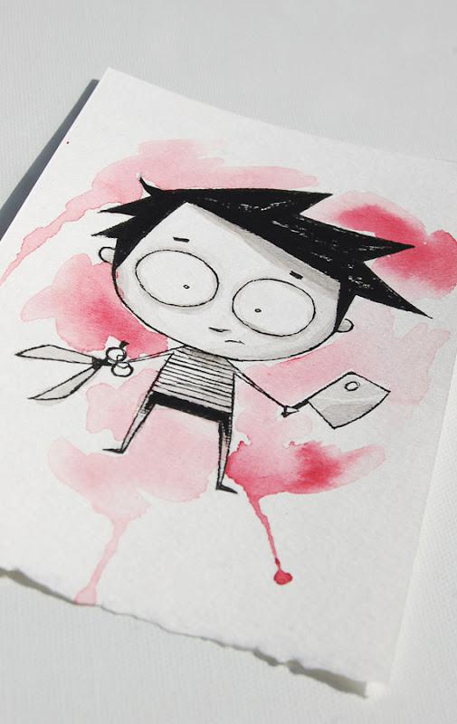 cute butcher, scene kid art, creepy kid clever, akumu ink art, kawaii goth, skull art, skeleton art, comiccon art, cute scary art