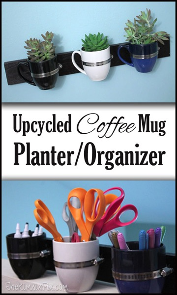 What can you do with extra coffee mugs?  Turn them into this adorable wall hanging.  Organize office supplies, toiletries, kitchen utensils.. or even turn into a planter for succulents or herbs.