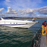 Poole lifeboat coming alongside an 18.3m motorcruiser, with engine failure 6 October 2013 Photo: RNLI Poole/Anne Millman