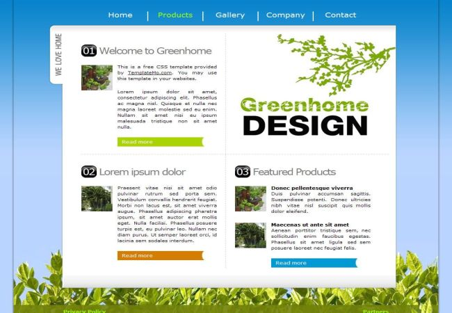 Green Home Design CSS Website Template