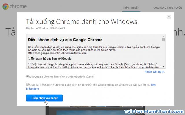 Chấp nhận và cài đặt Chrome