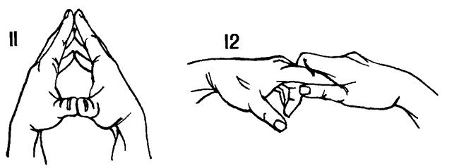 11 Прижать пальцы кистей рук друг к другу так, чтобы ладони не соприкасались. 12 Захватив правой рукой кончики пальцев левой руки, медленно потянуть их.