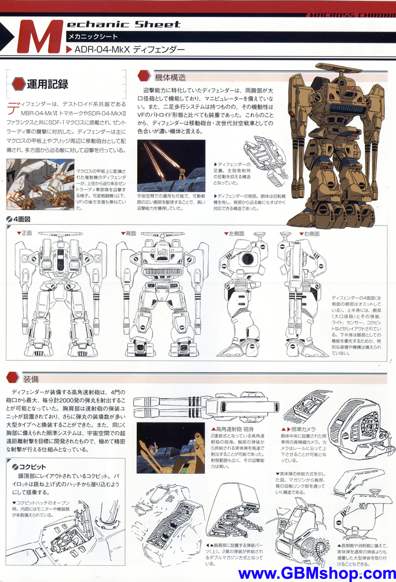 Macross ADR-04 Destroid Defender Mk X Mechanic & Concept Macross Chronicle