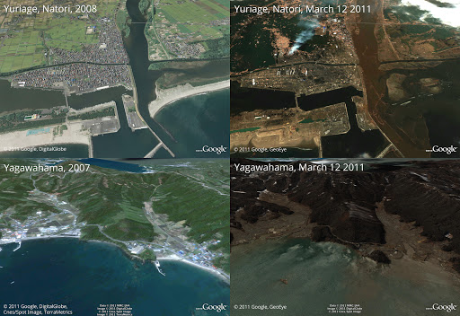 Before and after the earthquake and tsunami. Above is Yuriage in Natori, below is Yagawahama. Both are in in Miyagi prefecture. © 2011 Google, GeoEye, DigitalGlobe, Cnes/Spot Image, TerraMetrics  左上: 2007年 宮城県名取市閖上/右上: 同(現地2011/3/12 撮影)左下: 2007年 宮城県石巻市谷川浜 /右下: 同(現地2011/3/12 撮影) © 2011 Google, GeoEye, DigitalGlobe, Cnes/Spot Image, TerraMetrics