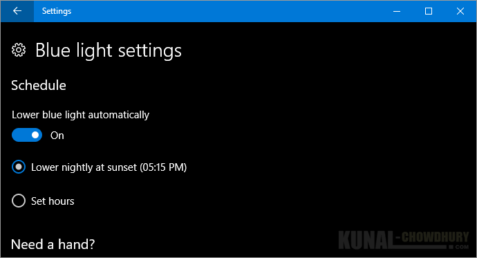 Lower blue light automatically at sunset on Windows 10 Creators Update (www.kunal-chowdhury.com)