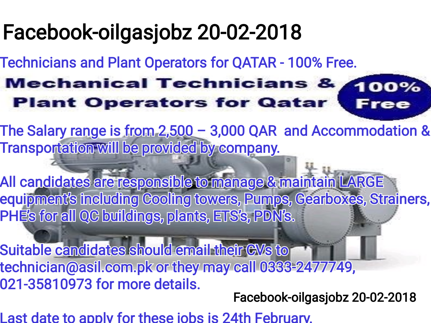 Oil and Gas Jobs: Technicians and Plant Operators for Qatar