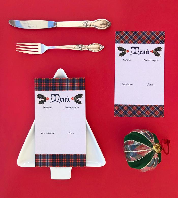 tarjetas de menú, cena nochebuena, fiestas, brunch, almuerzo, decoración, adornos, cubiertos