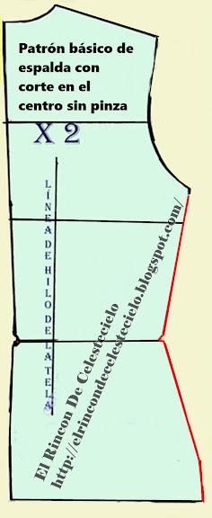 Patrón básico de espalda con corte en el centro sin pinza vertical